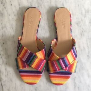J. Crew rainbow Cora multicolored slides sandals